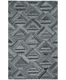 Abstract 607 Blue and Black 6' x 9' Area Rug