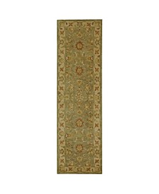 """Antiquity At313 Green and Gold 2'3"""" x 8' Runner Area Rug"""