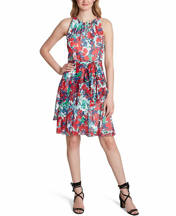 Tahari ASL Floral Fit & Flare Dress