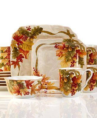 222 Fifth Holiday Autumn Celebration 16-Pc. Set, Service for 4 ...