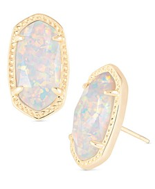 14k Gold-Plated Oval Stone Stud Earrings
