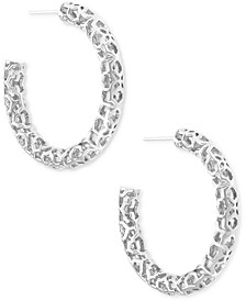 Medium Openwork Tubular Hoop Earrings, 1.41""