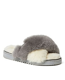 Women's New Castle Genuine Shearling Cross Band Slide Slippers