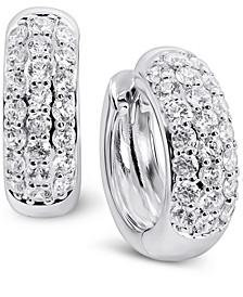 Swarovski Zirconia Small Huggie Hoop Earrings in Sterling Silver