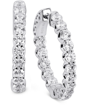 Cubic Zirconia Small In & Out Hoop Earrings in Sterling Silver or 18k Gold Plated Sterling Silver