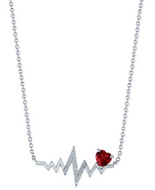 "Lab-Created Ruby (1/20 ct.t.w.) & Diamond Accent Heartbeat Pendant Necklace in Sterling Silver, 16"" + 2"" extender"