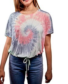 Juniors' Tie-Dyed Tie-Hem Top