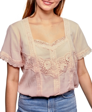 Belle Du Jour Juniors' Lace-Trim Top