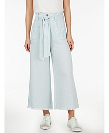 Plus Size Self Belt Flare Chambray Pant