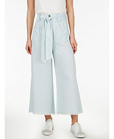 Adyson Parker Plus Size Self Belt Flare Chambray Pant