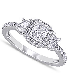 Diamond Radiant Three-Stone Engagement Ring (1 ct. t.w.) in 14k White Gold