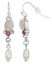 Silver-Tone Semi Precious Rose Quartz and Imitation Pearl Drop Earrings