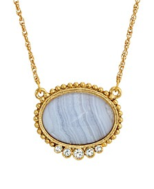 Gold-Tone Semi Precious Oval Stone with Crystals Necklace