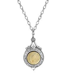 Silver-Tone Semi Precious Round Stone Necklace