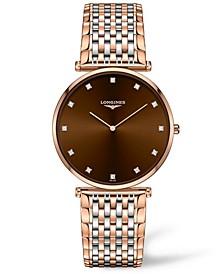 Women's Swiss La Grande Classique De Longines Diamond (1/10 ct. t.w.) Two-Tone PVD Stainless Steel Bracelet Watch 37mm