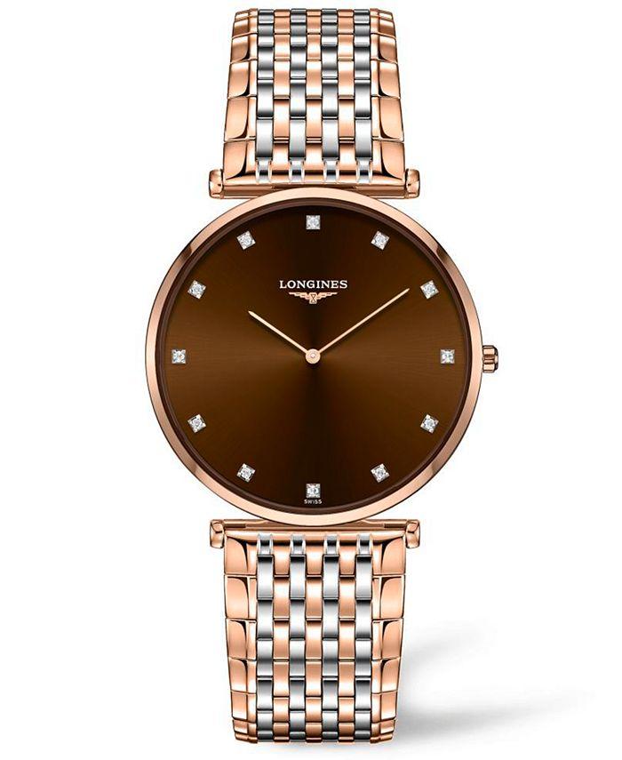 Longines - Women's Swiss La Grande Classique De  Diamond (1/10 ct. t.w.) Two-Tone PVD Stainless Steel Bracelet Watch 37mm