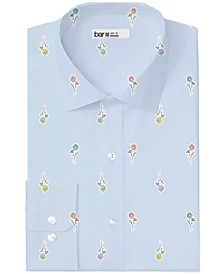 Men's Classic/Regular-Fit Performance Stretch Daisy-Print Dress Shirt, Created for Macy's