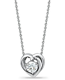 """Cubic Zirconia Heart Slider Pendant Necklace in Sterling Silver, 16"""" + 2"""", Created for Macy's"""
