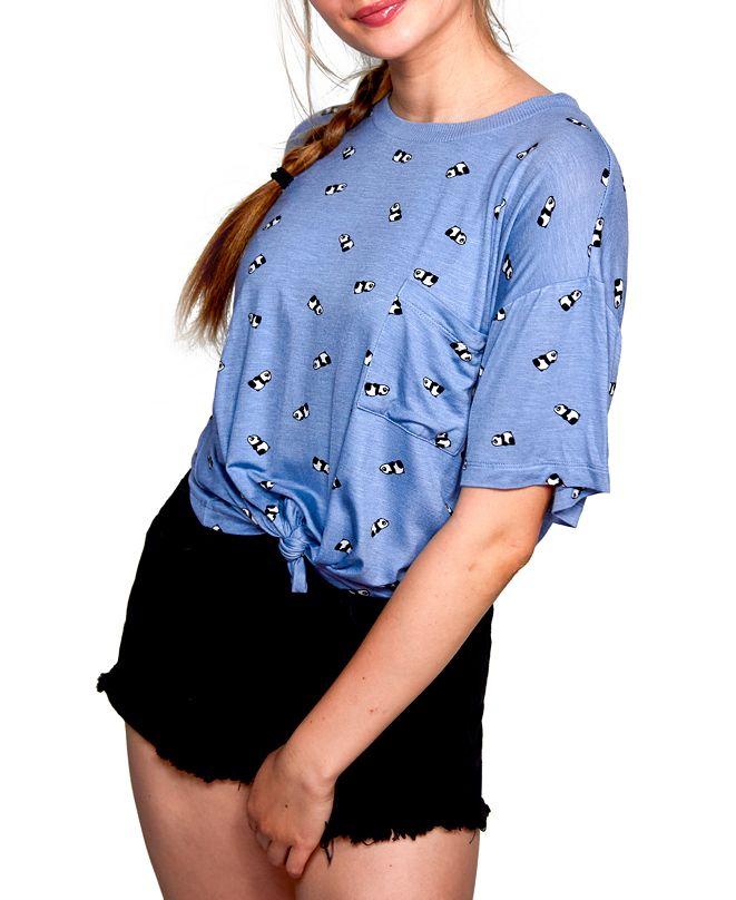 Self Esteem Juniors' Panda-Print Tie-Hem Top