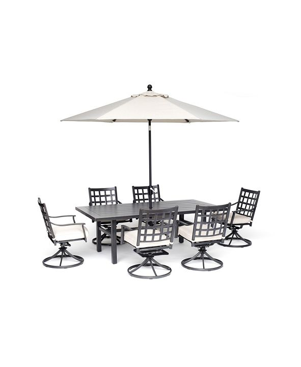"Furniture Highland Outdoor 7-Pc. Dining Set (84"" x 42"" Dining Table and 6 Swivel Chairs) with Sunbrella® Cushions, Created for Macy's"