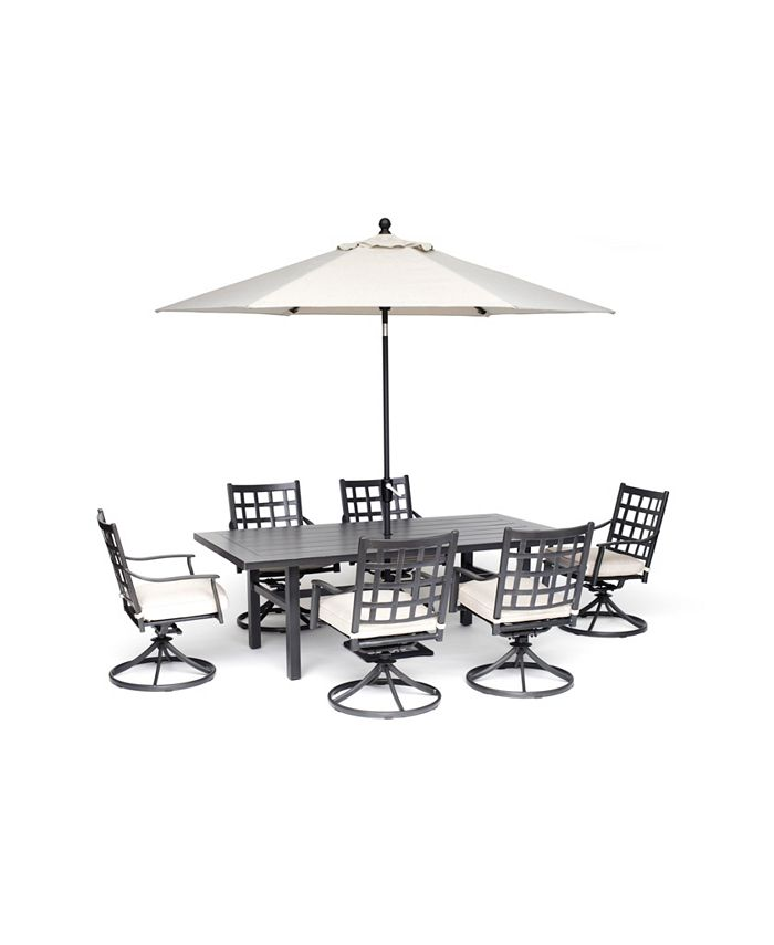 """Furniture - Highland Outdoor 7-Pc. Dining Set (84"""" x 42"""" Dining Table and 6 Swivel Chairs) with Sunbrella® Cushions, Created for Macy's"""