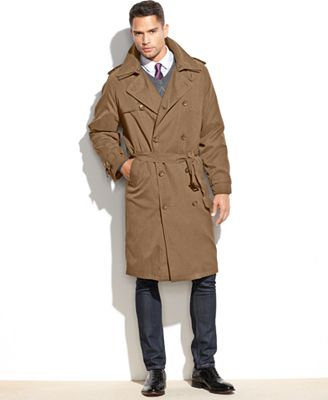 London Fog Iconic Belted Trench Raincoat - Coats & Jackets - Men