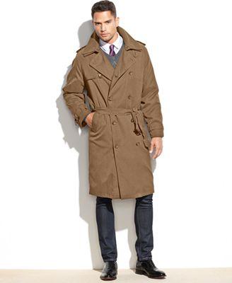 London Fog Iconic Belted Trench Raincoat - Coats & Jackets - Men