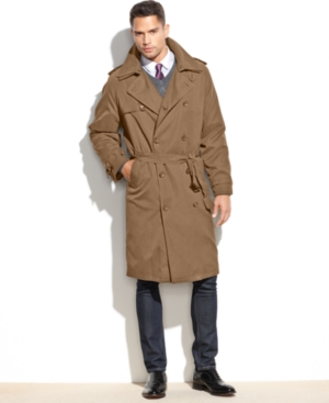 Men's Vintage Style Coats and Jackets London Fog Iconic Belted Trench Raincoat $139.99 AT vintagedancer.com