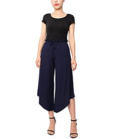 Juniors' Textured Knit Cropped Pants