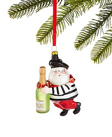 World Traveler Santa with Champagne Ornament, Created for Macy's