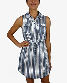Juniors' Striped Shirtdress