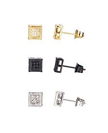 Stainless Steel Tri-Tone Square Cubic Zirconia Earring Set