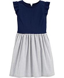 Little Girls Stripe-Skirt Bow-Back Dress