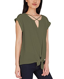 Juniors' Criss-Cross Tie-Hem Top