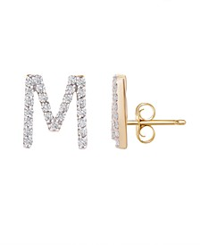 Diamond Initial Stud Earrings (1/10 ct. t.w) in 14k Gold