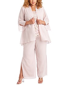 Plus Size 3-Pc. Jacket, Embroidered Top & Pants Set