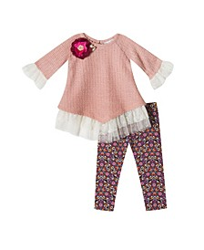Baby Girls 2-Pc. Lace Detailed Top & Floral-Print Leggings Set
