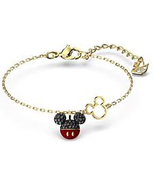 Gold-Tone Crystal Mickey Charm Link Bracelet