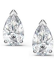 Silver-Tone Crystal Stud Earrings