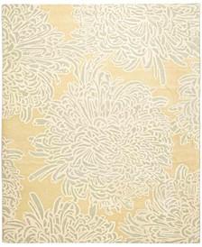 Chrysanthemum MSR4542D Gold 4' x 4' Round Area Rug