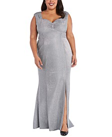 Plus Size Sweetheart Metallic Gown