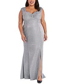 R & M Richards Plus Size Sweetheart Metallic Gown