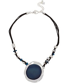 "Silver-Tone & Blue Patina Geometric Leather Pendant Necklace, 16-1/2"" + 2"" extender"