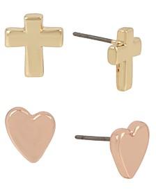 Two-Tone 2-Pc. Set Cross & Heart Stud Earrings