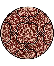 French Painted Avignon MSR4551A Burgundy 8' x 8' Round Area Rug