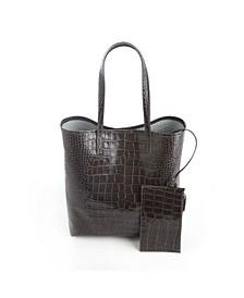 Croc-Embossed Tall Tote Bag Wristlet