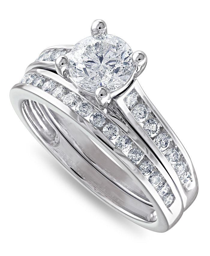 Macy's - IGI Certified Diamond Channel-Set Bridal Set (1-1/2 ct. t.w.)