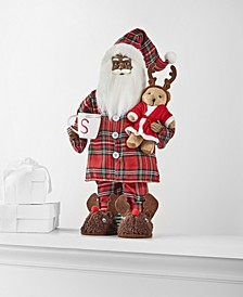 "18""H  Standing African American Pajama Santa with Bear & Mug, Created for Macy's"