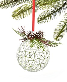 Birds & Boughs Glass Ball with Green Leaf Ornament, Created for Macy's