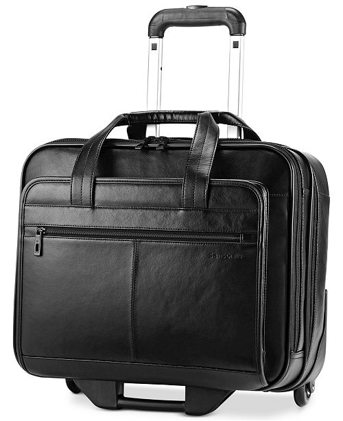 Leather Rolling Mobile Office Laptop Briefcase